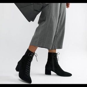 Vagabond Mya suede lace up pointed booties